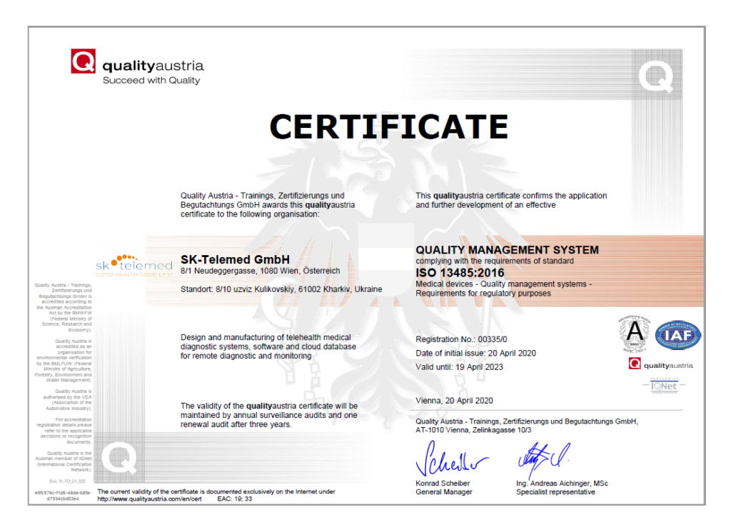 Quality Austria Certificate ISO 9001:2015