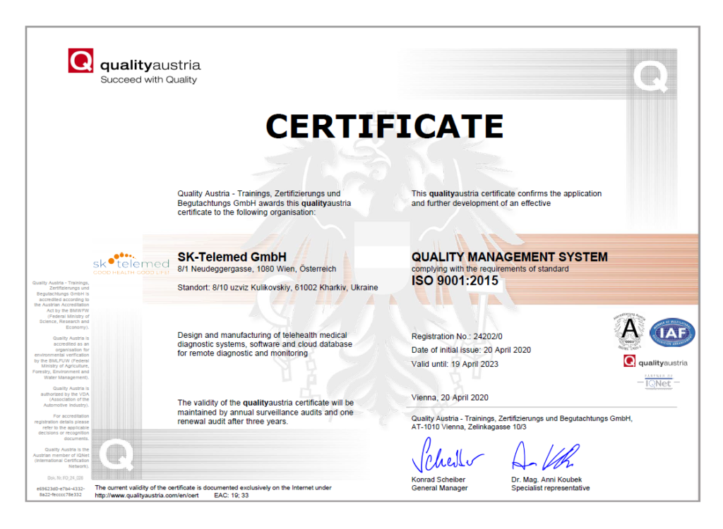 Quality Austria Certificate ISO 13485:2016