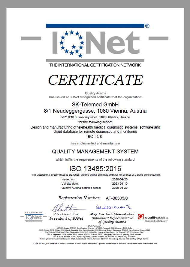 IQNet Certificate ISO 13485:2016