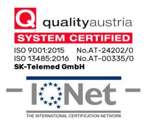 ISO 9001:2015 und 13485:2016 zertifiziert Quality Austria | IQNET — SK-Telemed GmbH