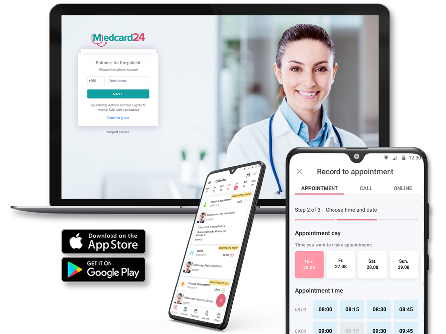 Patient portal with the web and mobile app Medcard24